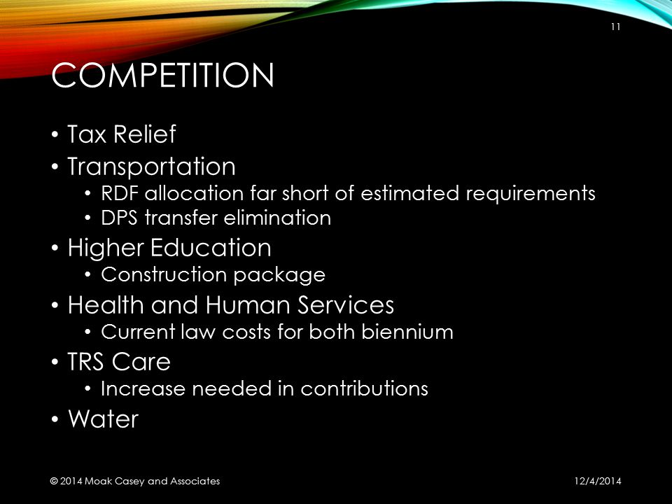COMPETITION Tax Relief Transportation RDF allocation far short of estimated requirements DPS transfer elimination Higher Education Construction packag