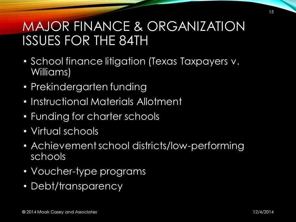 MAJOR FINANCE & ORGANIZATION ISSUES FOR THE 84TH School finance litigation (Texas Taxpayers v. Williams) Prekindergarten funding Instructional Materia