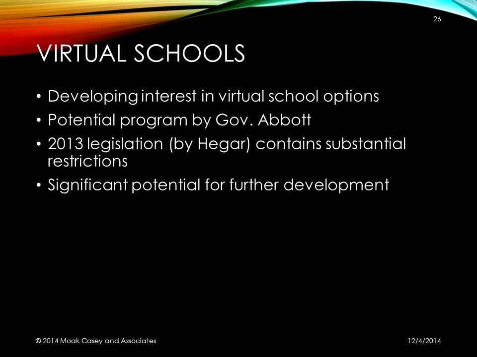 VIRTUAL SCHOOLS Developing interest in virtual school options Potential program by Gov. Abbott 2013 legislation (by Hegar) contains substantial restri