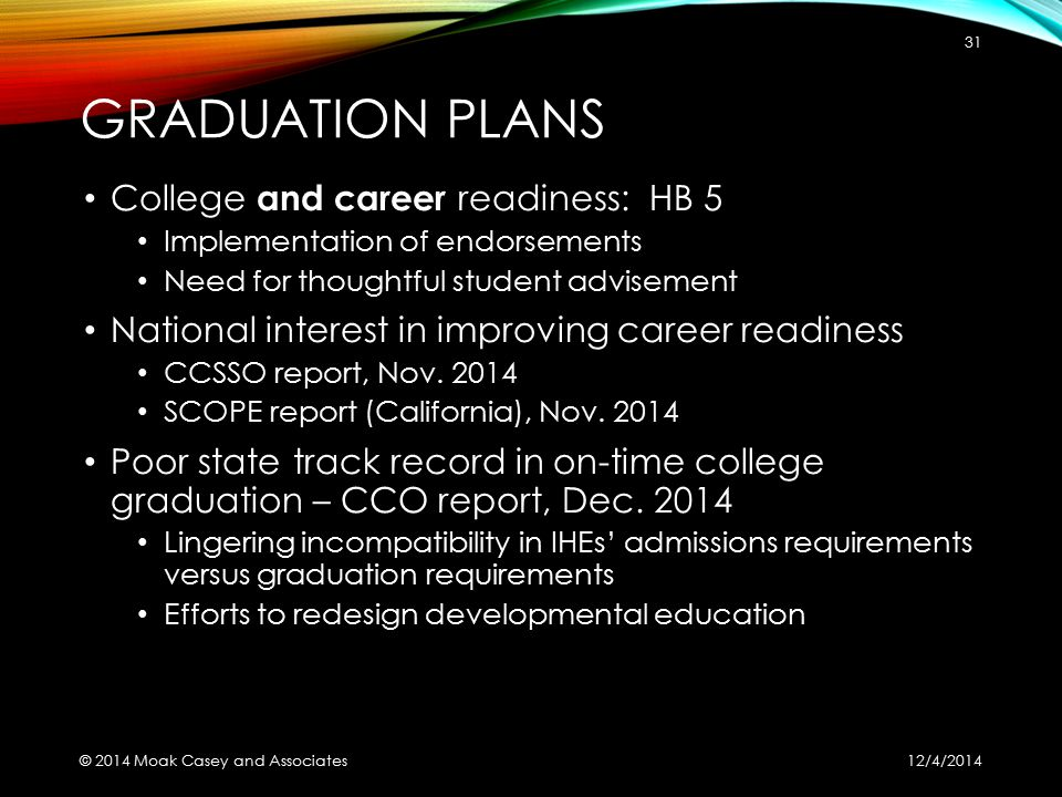 GRADUATION PLANS College and career readiness: HB 5 Implementation of endorsements Need for thoughtful student advisement National interest in improving career readiness CCSSO report, Nov.