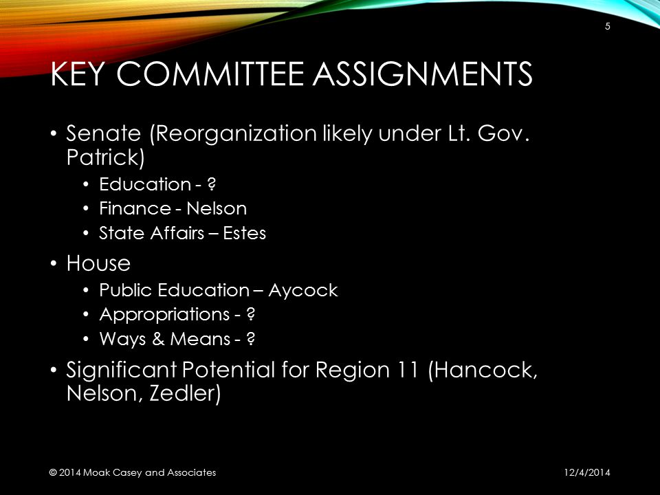 KEY COMMITTEE ASSIGNMENTS Senate (Reorganization likely under Lt. Gov. Patrick) Education - ? Finance - Nelson State Affairs – Estes House Public Educ