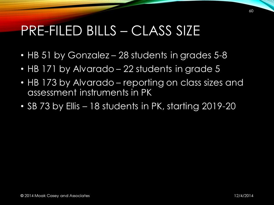 PRE-FILED BILLS – CLASS SIZE HB 51 by Gonzalez – 28 students in grades 5-8 HB 171 by Alvarado – 22 students in grade 5 HB 173 by Alvarado – reporting on class sizes and assessment instruments in PK SB 73 by Ellis – 18 students in PK, starting 2019-20 12/4/2014 © 2014 Moak Casey and Associates 60