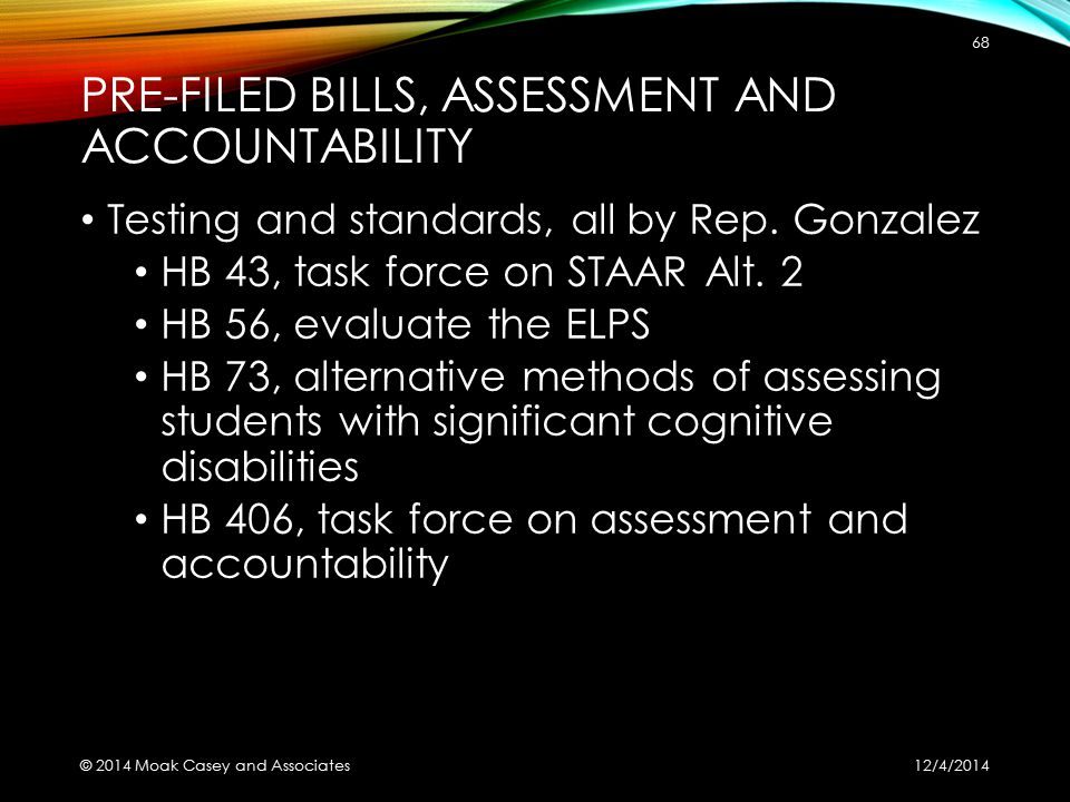 PRE-FILED BILLS, ASSESSMENT AND ACCOUNTABILITY Testing and standards, all by Rep.