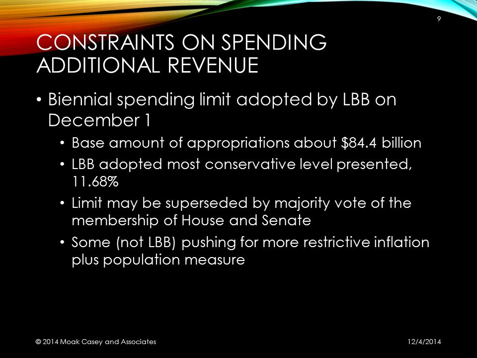 CONSTRAINTS ON SPENDING ADDITIONAL REVENUE Biennial spending limit adopted by LBB on December 1 Base amount of appropriations about $84.4 billion LBB