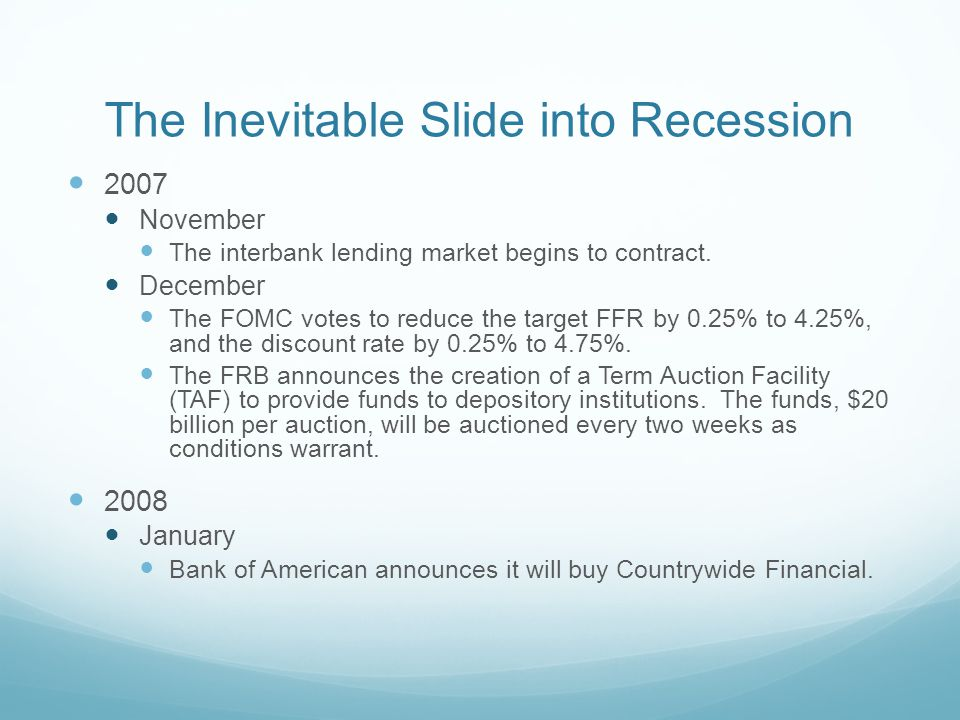 The Inevitable Slide into Recession 2007 November The interbank lending market begins to contract.