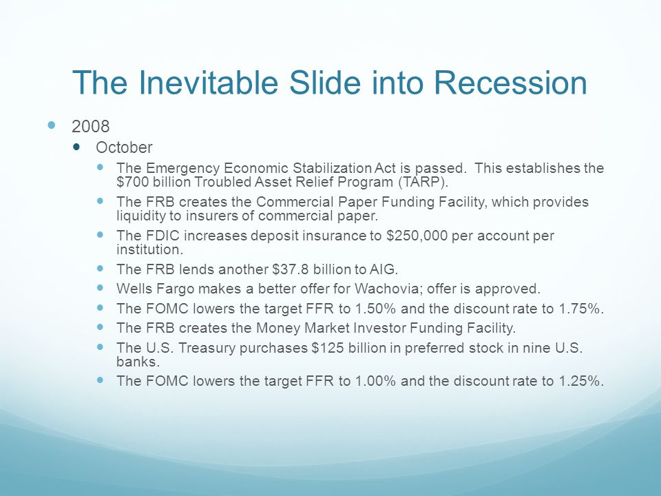 The Inevitable Slide into Recession 2008 October The Emergency Economic Stabilization Act is passed.