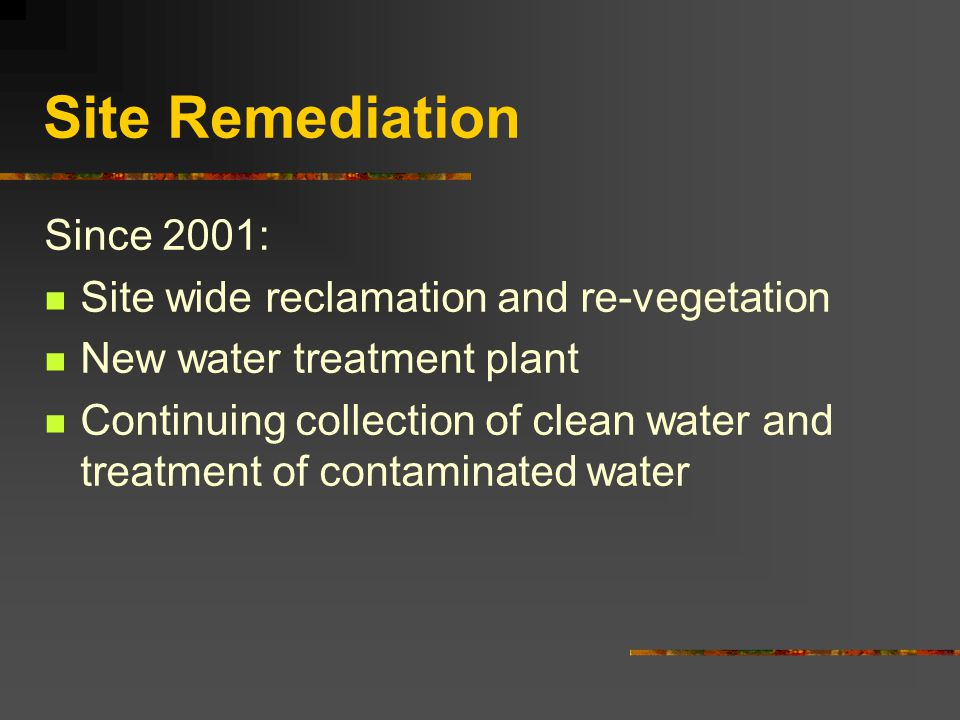 Site Remediation Designed to slow the acid mine drainage of the site since 1992: Detoxifying Capping and re-vegetating the heap leach pads Removing wa