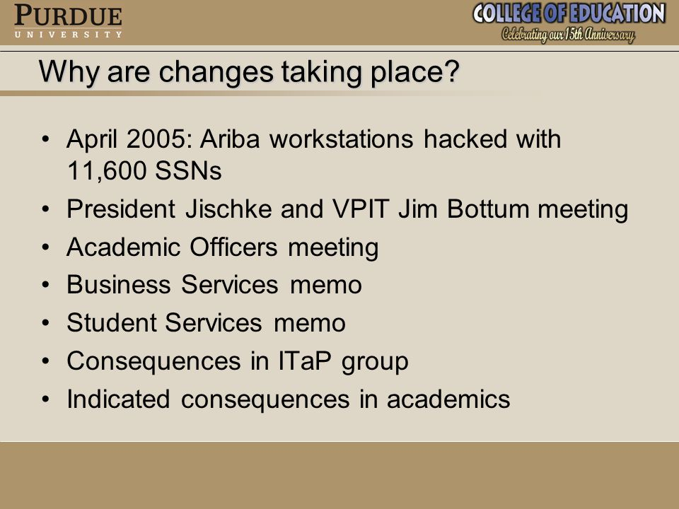 April 2005: Ariba workstations hacked with 11,600 SSNs President Jischke and VPIT Jim Bottum meeting Academic Officers meeting Business Services memo Student Services memo Consequences in ITaP group Indicated consequences in academics Why are changes taking place