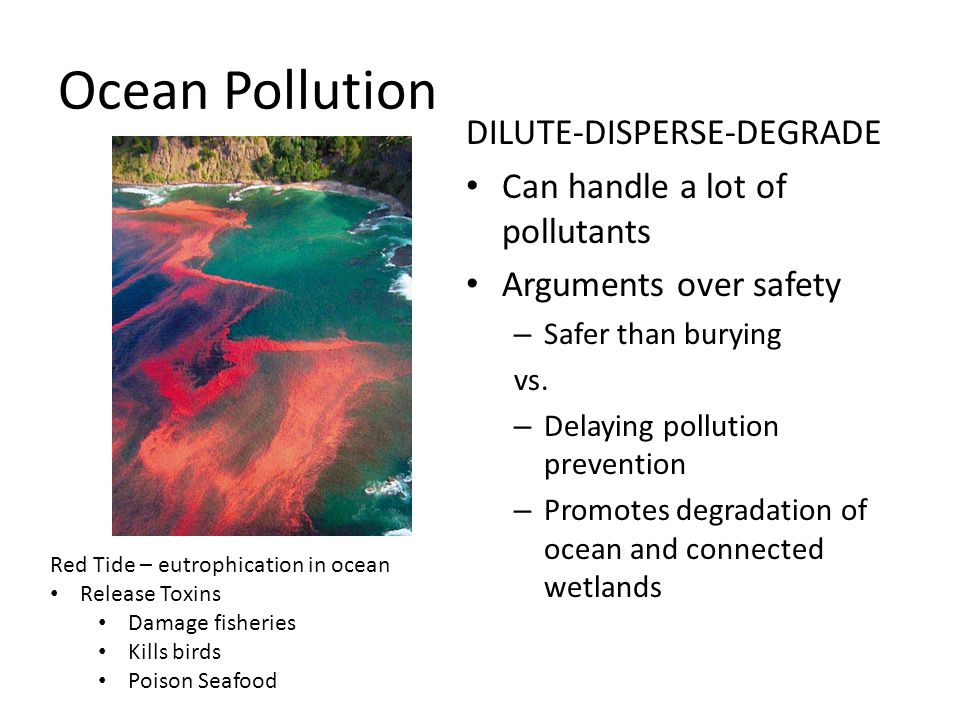 Ocean Pollution DILUTE-DISPERSE-DEGRADE Can handle a lot of pollutants Arguments over safety – Safer than burying vs. – Delaying pollution prevention
