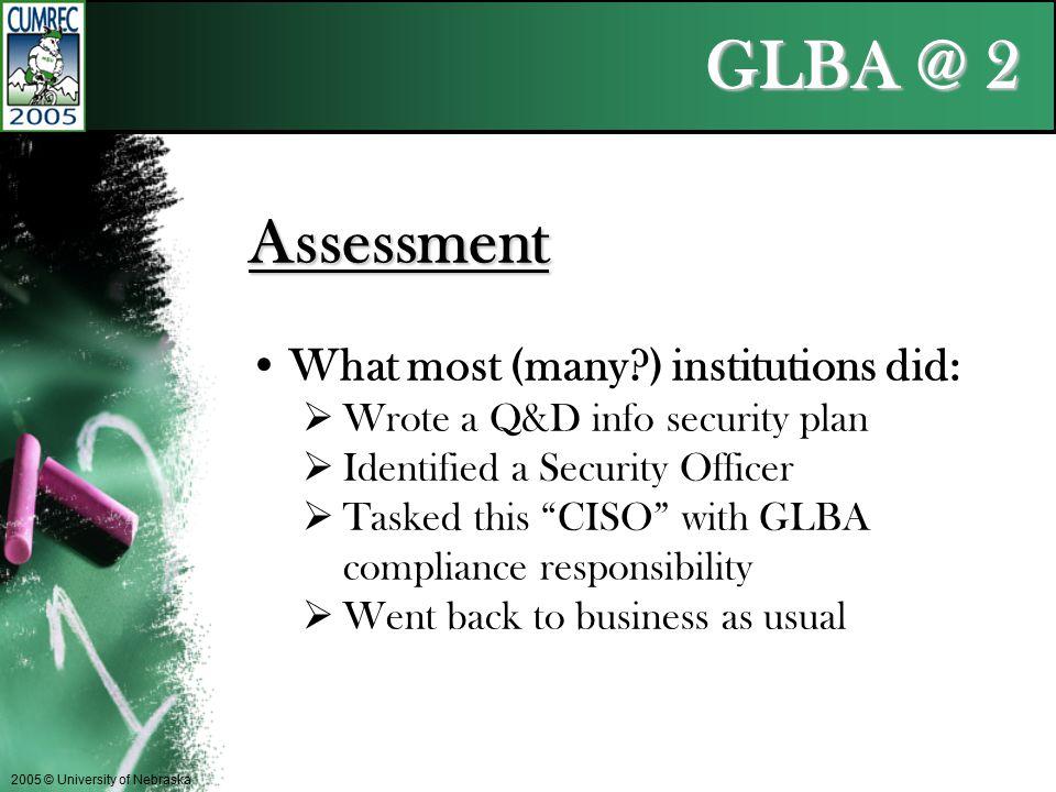 GLBA @ 2 2005 © University of Nebraska Assessment One size does not fit all.