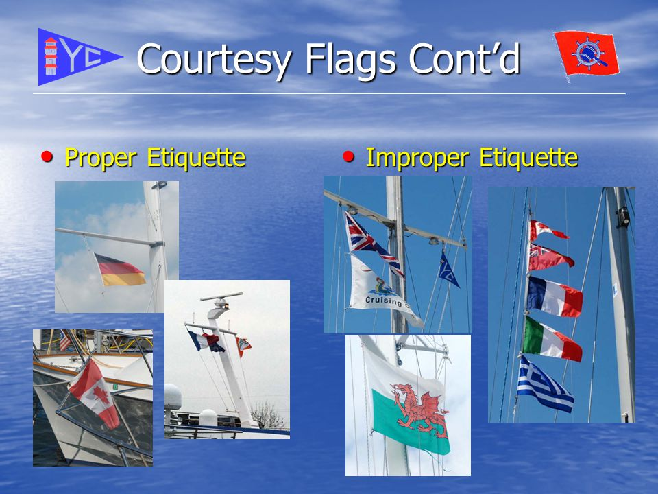 Courtesy Flags Cont'd Proper Etiquette Proper Etiquette Improper Etiquette Improper Etiquette