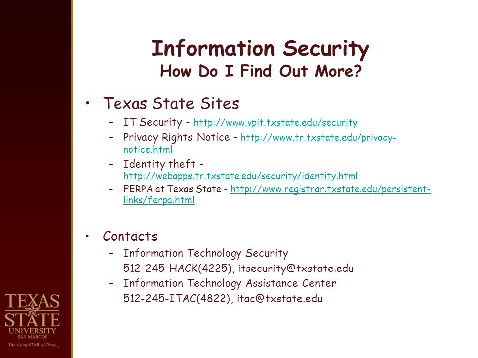 Information Security How Do I Find Out More.