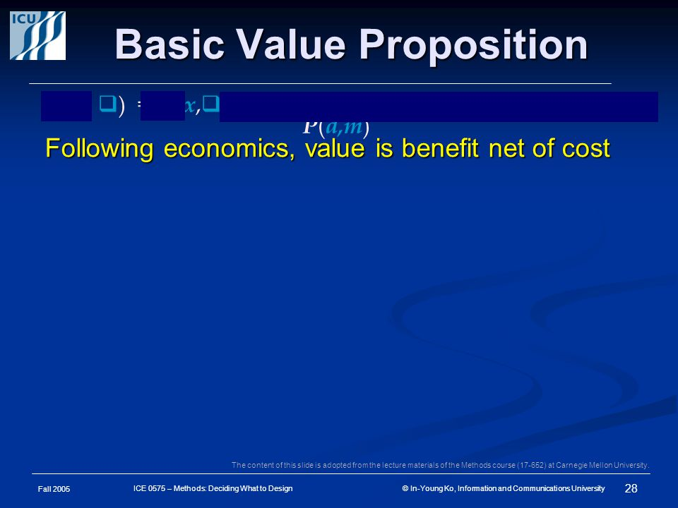 Fall 2005 28 ICE 0575 – Methods: Deciding What to Design © In-Young Ko, Information and Communications University Basic Value Proposition Following economics, value is benefit net of cost V ( d,  ) = B ( x,  ) – C ( d, x,m ) for { x : F ( d, x,m ) }, where x = P ( d,m ) The content of this slide is adopted from the lecture materials of the Methods course (17-652) at Carnegie Mellon University.