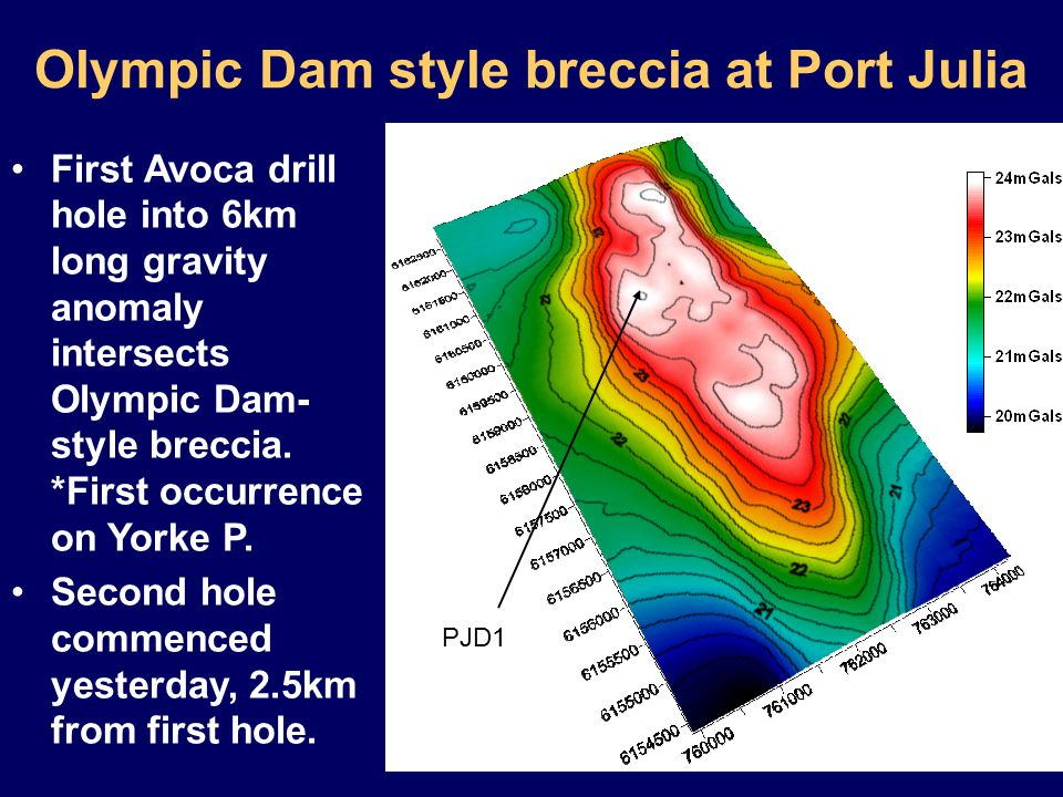 Olympic Dam style breccia at Port Julia PJD1 First Avoca drill hole into 6km long gravity anomaly intersects Olympic Dam- style breccia.