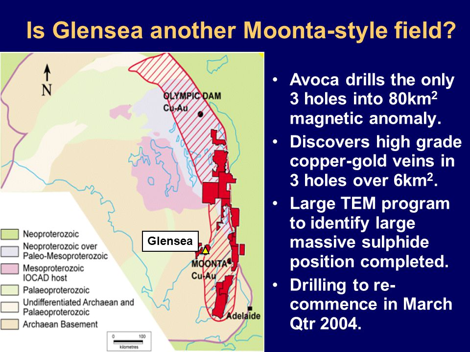 Is Glensea another Moonta-style field. Avoca drills the only 3 holes into 80km 2 magnetic anomaly.