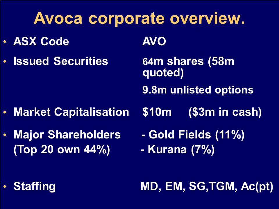 Avoca corporate overview.