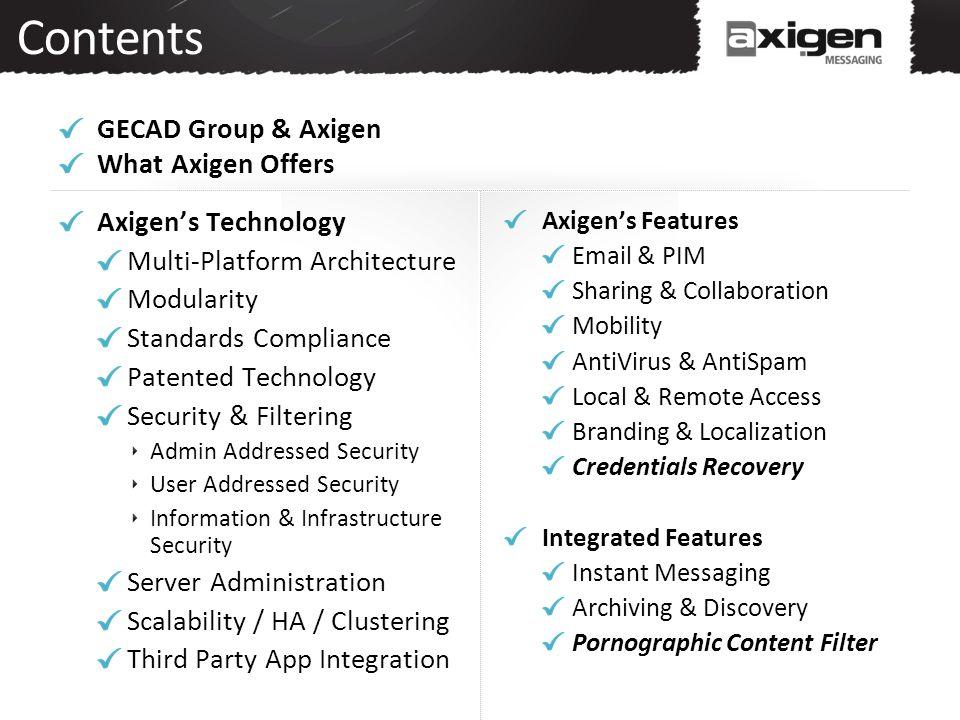 Contents GECAD Group & Axigen What Axigen Offers Axigen's Technology Multi-Platform Architecture Modularity Standards Compliance Patented Technology S