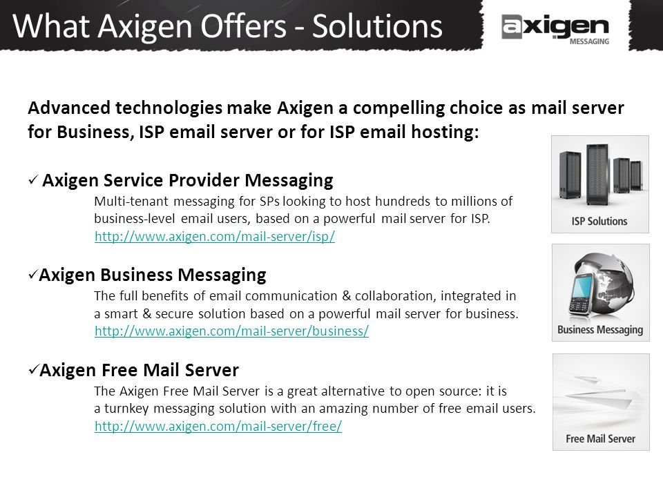 What Axigen Offers - Solutions Advanced technologies make Axigen a compelling choice as mail server for Business, ISP email server or for ISP email ho