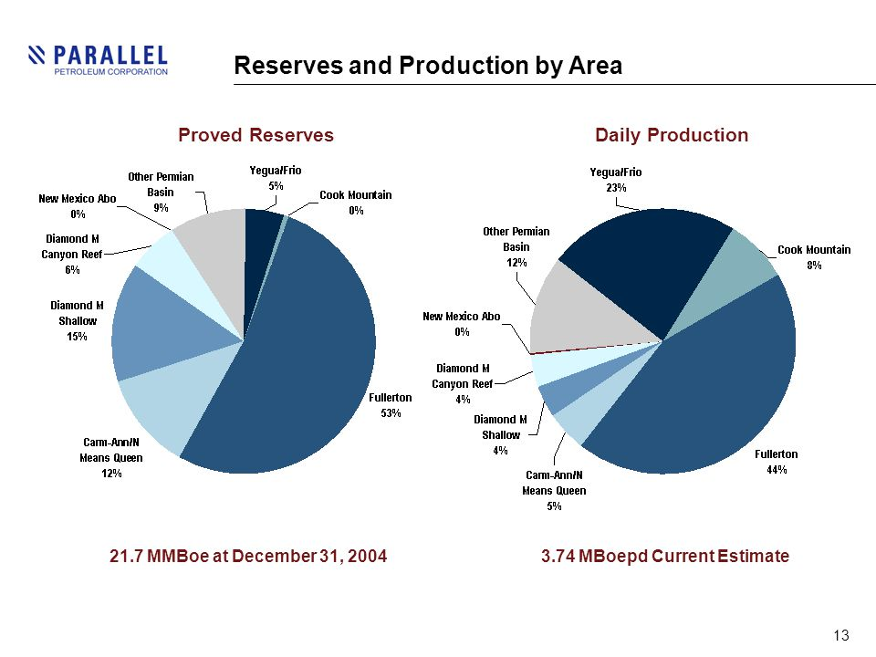 13 Reserves and Production by Area 21.7 MMBoe at December 31, 20043.74 MBoepd Current Estimate Proved ReservesDaily Production