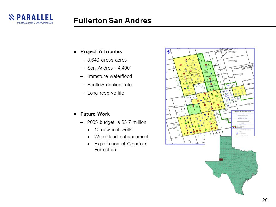 20 Fullerton San Andres Project Attributes –3,640 gross acres –San Andres - 4,400 –Immature waterflood –Shallow decline rate –Long reserve life Future Work –2005 budget is $3.7 million 13 new infill wells Waterflood enhancement Exploitation of Clearfork Formation