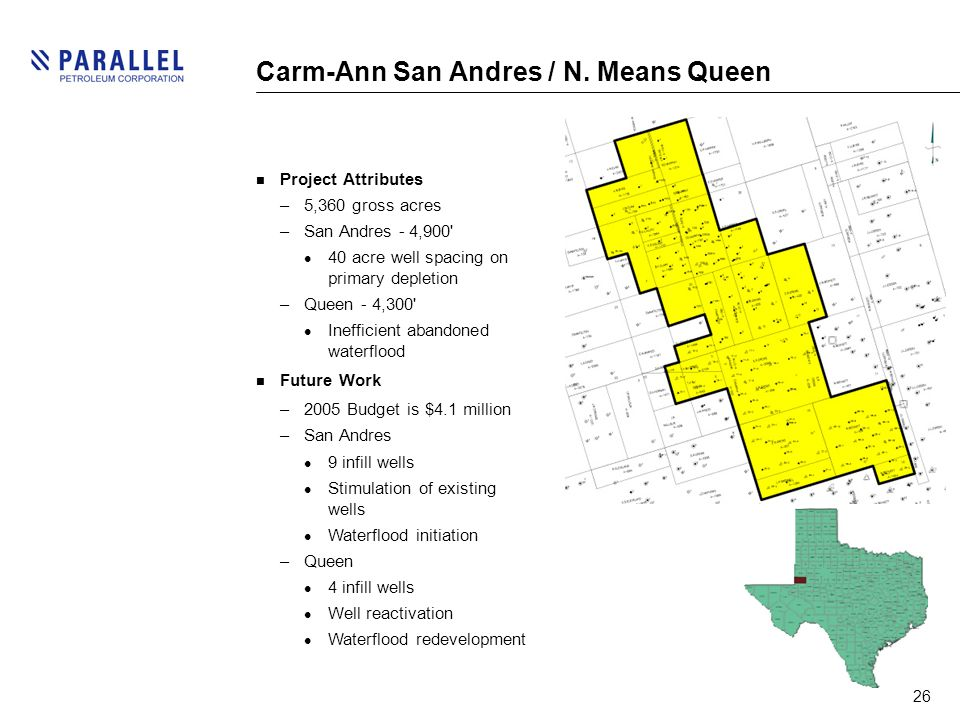 26 Carm-Ann San Andres / N. Means Queen Project Attributes –5,360 gross acres –San Andres - 4,900' 40 acre well spacing on primary depletion –Queen -