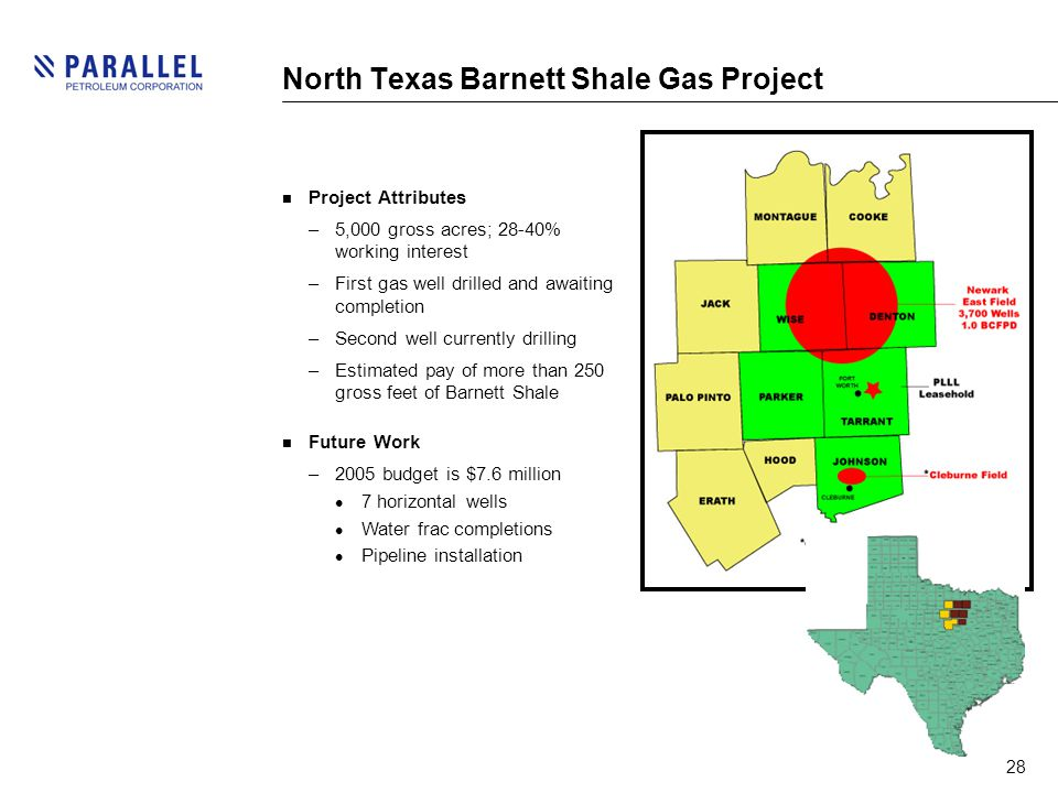 28 North Texas Barnett Shale Gas Project Project Attributes –5,000 gross acres; 28-40% working interest –First gas well drilled and awaiting completion –Second well currently drilling –Estimated pay of more than 250 gross feet of Barnett Shale Future Work –2005 budget is $7.6 million 7 horizontal wells Water frac completions Pipeline installation