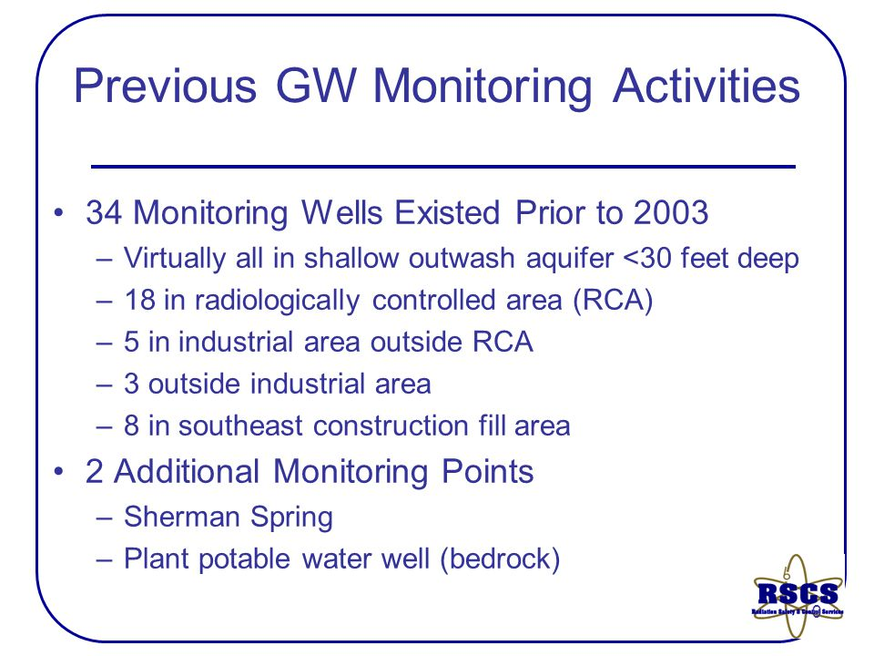 9 Previous GW Monitoring Activities 34 Monitoring Wells Existed Prior to 2003 –Virtually all in shallow outwash aquifer <30 feet deep –18 in radiologically controlled area (RCA) –5 in industrial area outside RCA –3 outside industrial area –8 in southeast construction fill area 2 Additional Monitoring Points –Sherman Spring –Plant potable water well (bedrock)