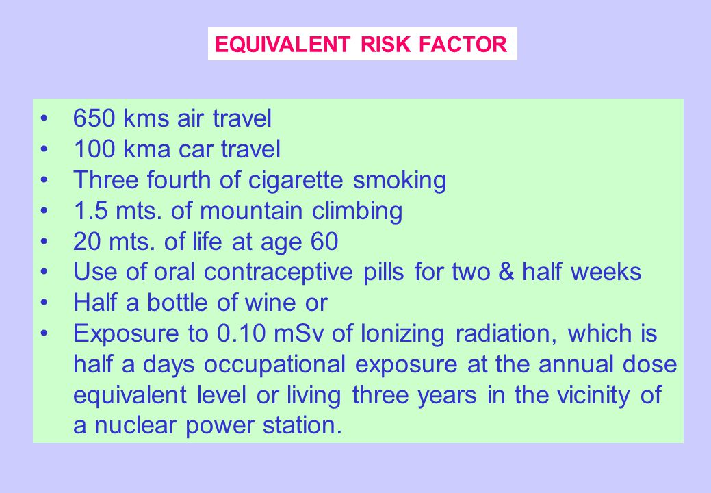 EQUIVALENT RISK FACTOR 650 kms air travel 100 kma car travel Three fourth of cigarette smoking 1.5 mts.
