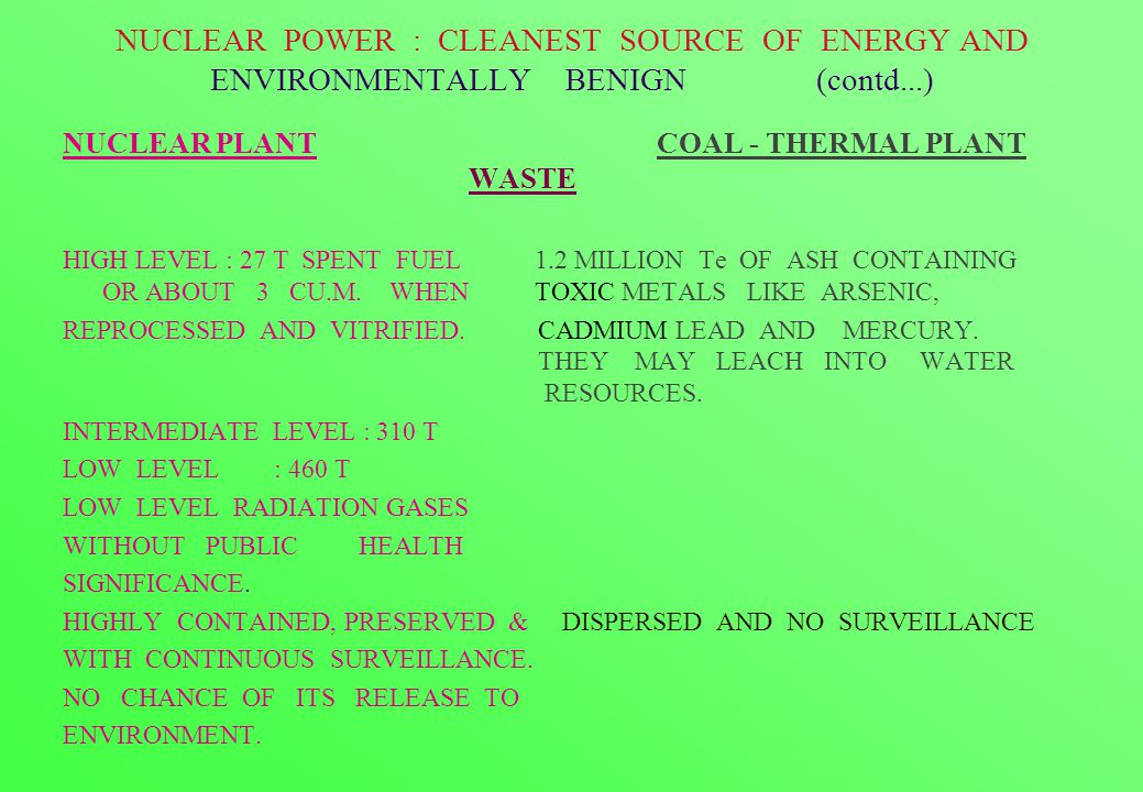 NUCLEAR POWER : CLEANEST SOURCE OF ENERGY AND ENVIRONMENTALLY BENIGN (contd...) NUCLEAR PLANT COAL - THERMAL PLANT WASTE HIGH LEVEL : 27 T SPENT FUEL 1.2 MILLION Te OF ASH CONTAINING OR ABOUT 3 CU.M.