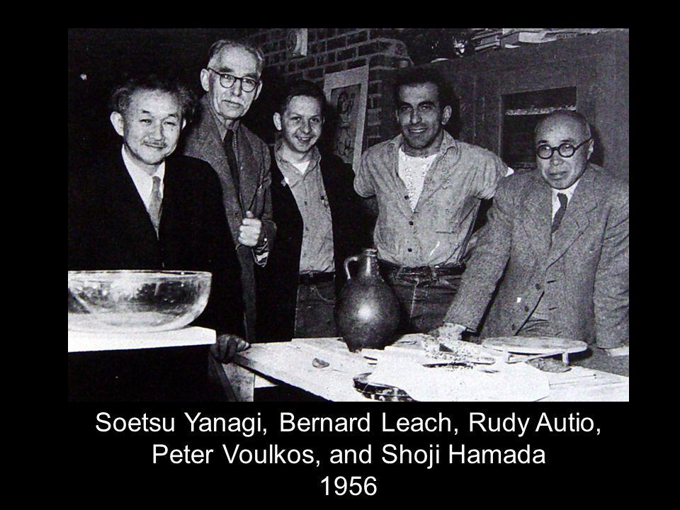 Soetsu Yanagi, Bernard Leach, Rudy Autio, Peter Voulkos, and Shoji Hamada 1956