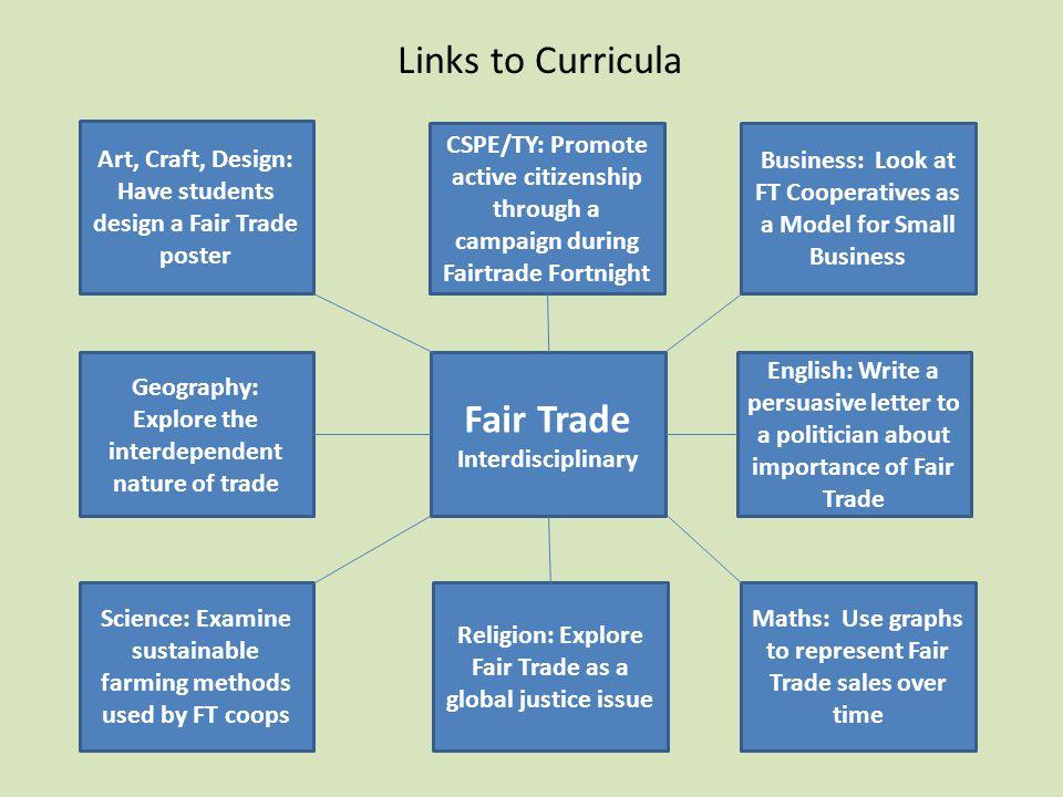 Links to Curricula Fair Trade Interdisciplinary Art, Craft, Design: Have students design a Fair Trade poster CSPE/TY: Promote active citizenship throu