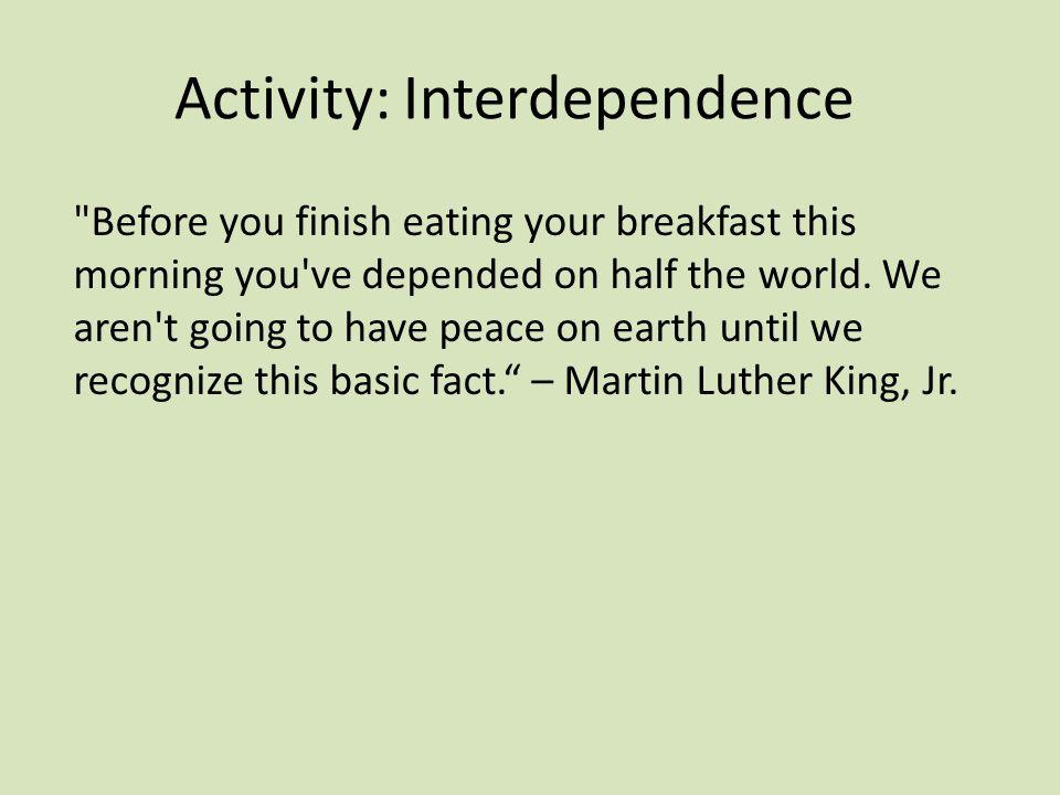Activity: Interdependence