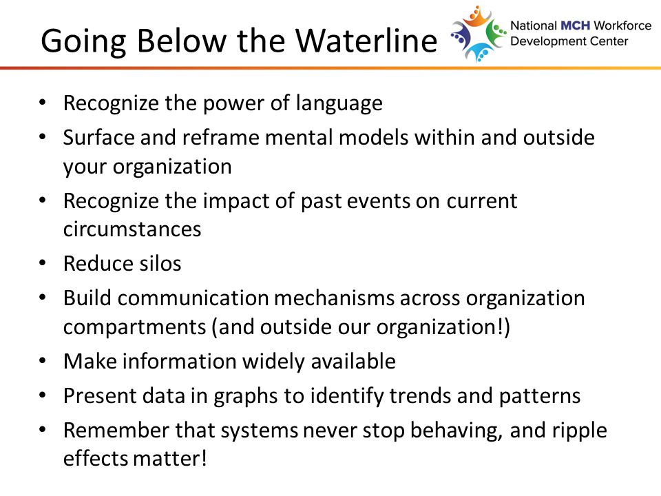 Going Below the Waterline Recognize the power of language Surface and reframe mental models within and outside your organization Recognize the impact of past events on current circumstances Reduce silos Build communication mechanisms across organization compartments (and outside our organization!) Make information widely available Present data in graphs to identify trends and patterns Remember that systems never stop behaving, and ripple effects matter!