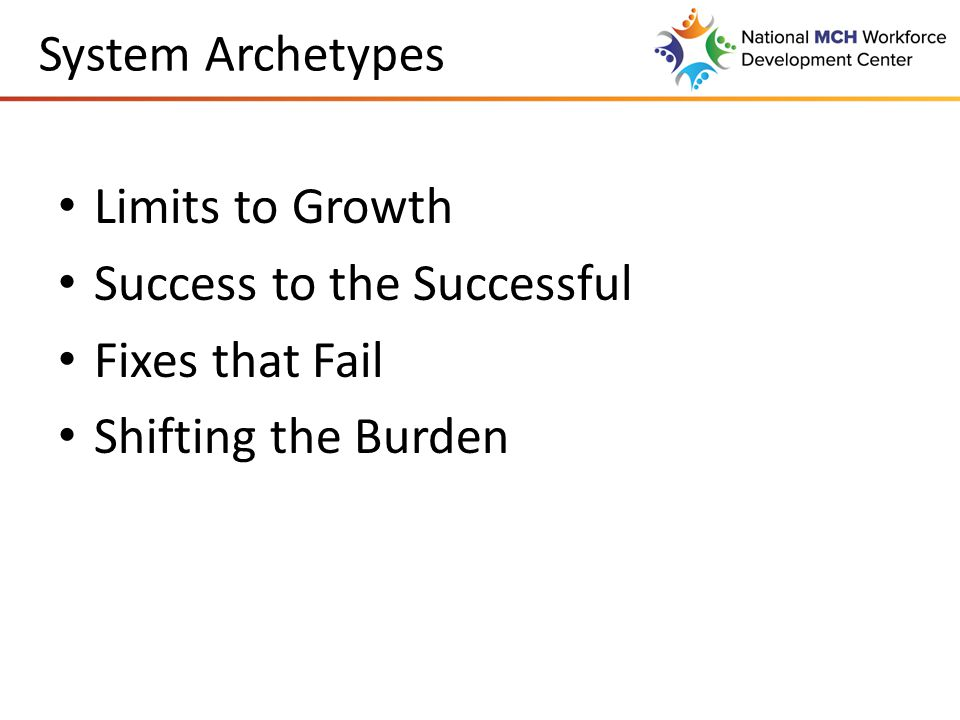 System Archetypes Limits to Growth Success to the Successful Fixes that Fail Shifting the Burden