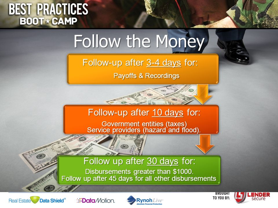 Follow the Money Follow-up after 3-4 days for: Payoffs & Recordings Payoffs & Recordings Follow-up after 10 days for: Government entities (taxes) Serv