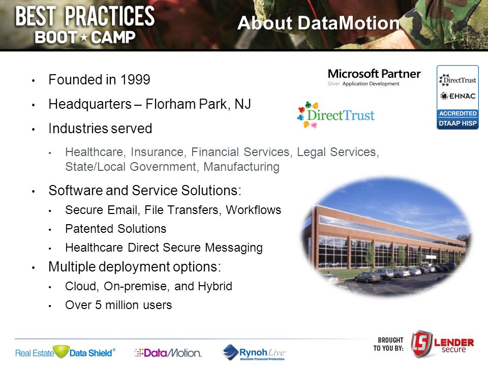 About DataMotion Founded in 1999 Headquarters – Florham Park, NJ Industries served Healthcare, Insurance, Financial Services, Legal Services, State/Lo