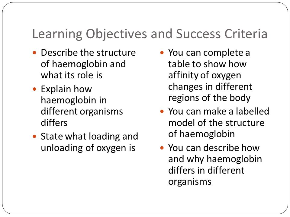 Learning Objectives and Success Criteria Describe the structure of haemoglobin and what its role is Explain how haemoglobin in different organisms differs State what loading and unloading of oxygen is You can complete a table to show how affinity of oxygen changes in different regions of the body You can make a labelled model of the structure of haemoglobin You can describe how and why haemoglobin differs in different organisms