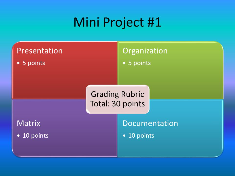 Mini Project #1 Presentation 5 points Organization 5 points Matrix 10 points Documentation 10 points Grading Rubric Total: 30 points