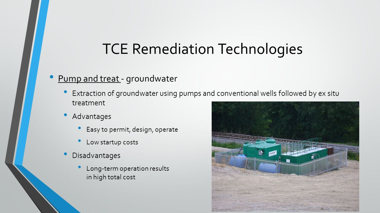 TCE Remediation Technologies Pump and treat - groundwater Extraction of groundwater using pumps and conventional wells followed by ex situ treatment A
