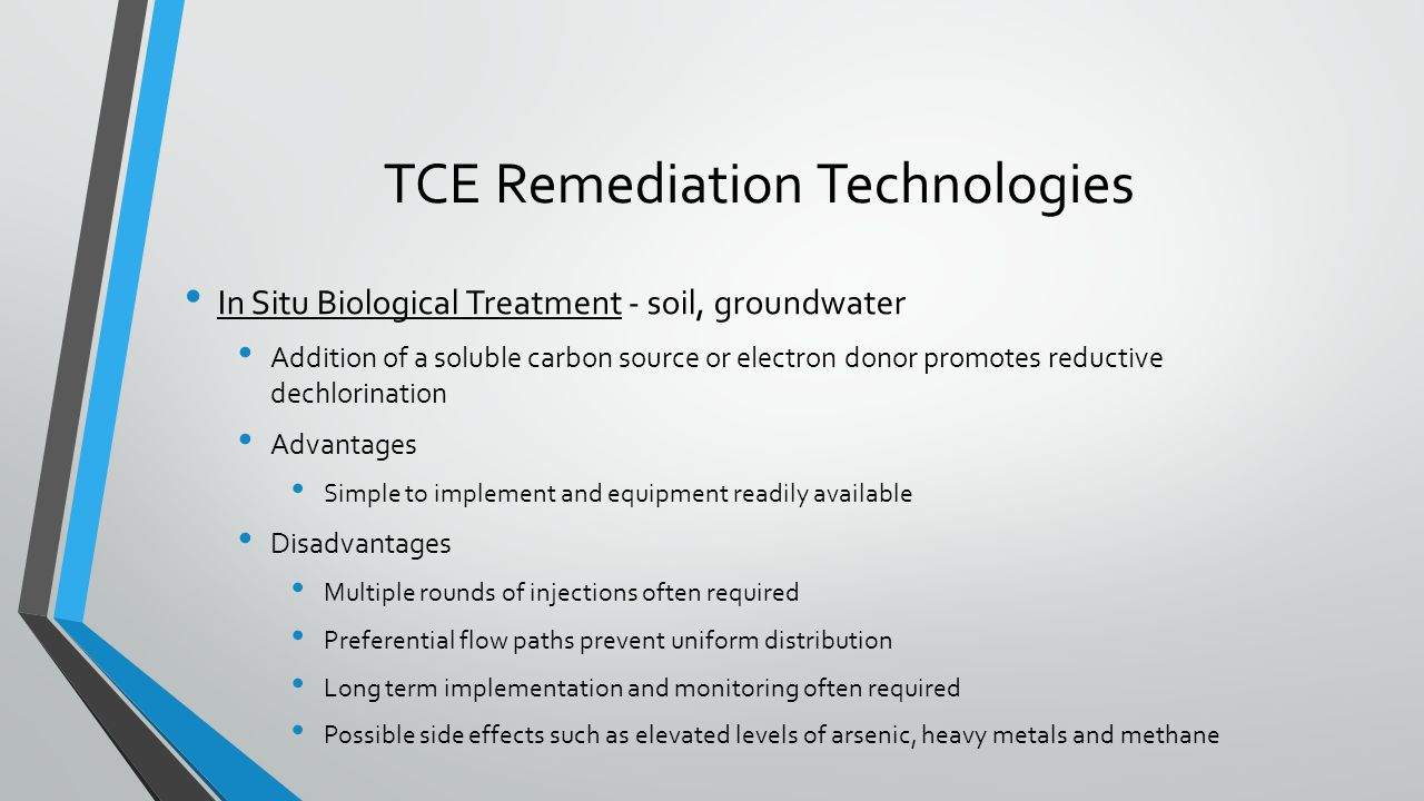 TCE Remediation Technologies In Situ Biological Treatment - soil, groundwater Addition of a soluble carbon source or electron donor promotes reductive