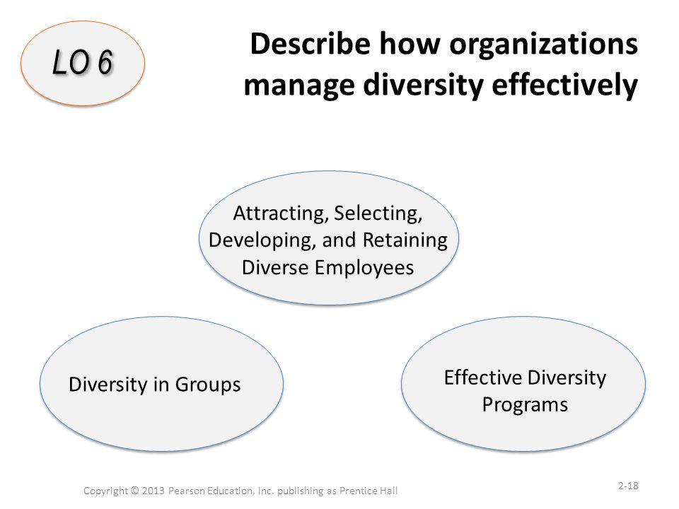 Describe how organizations manage diversity effectively Copyright © 2013 Pearson Education, Inc. publishing as Prentice Hall 2-18 LO 6 Attracting, Sel