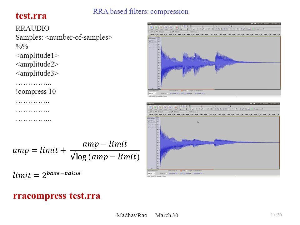 Madhav Rao March 30 RRAUDIO Samples: % …………... !compress 10 …………..