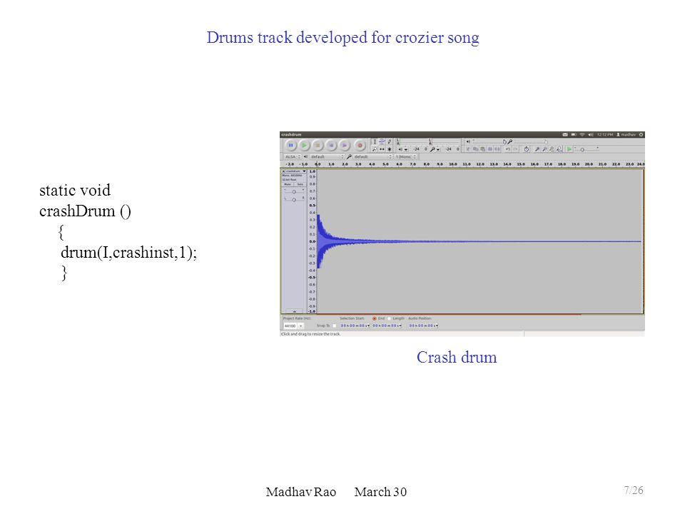 Madhav Rao March 30 Crash drum static void crashDrum () { drum(I,crashinst,1); } 7/26 Drums track developed for crozier song