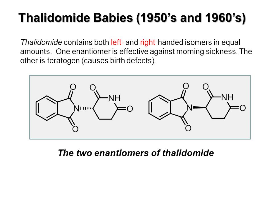 Thalidomide contains both left- and right-handed isomers in equal amounts.