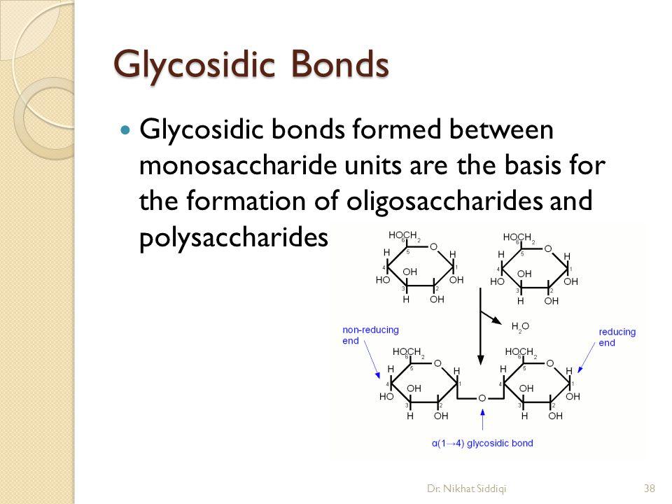 Glycosidic Bonds Glycosidic bonds formed between monosaccharide units are the basis for the formation of oligosaccharides and polysaccharides.