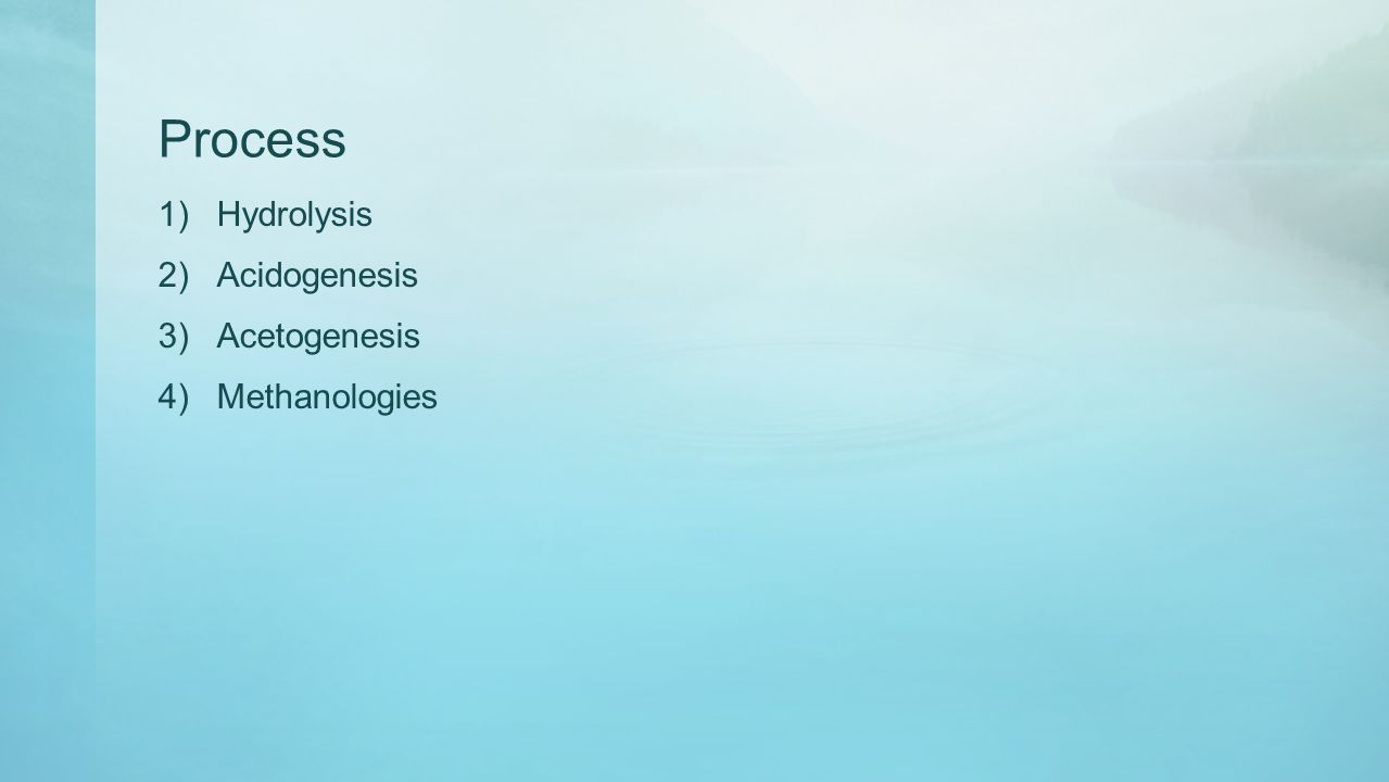 Process 1)Hydrolysis 2)Acidogenesis 3)Acetogenesis 4)Methanologies