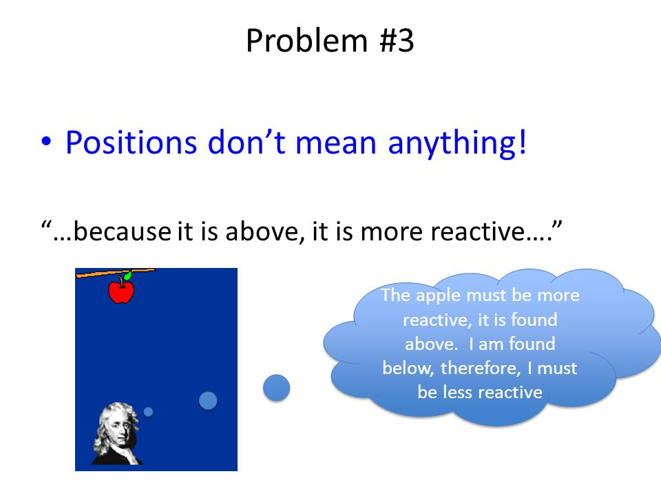Problem #3 Positions don't mean anything.