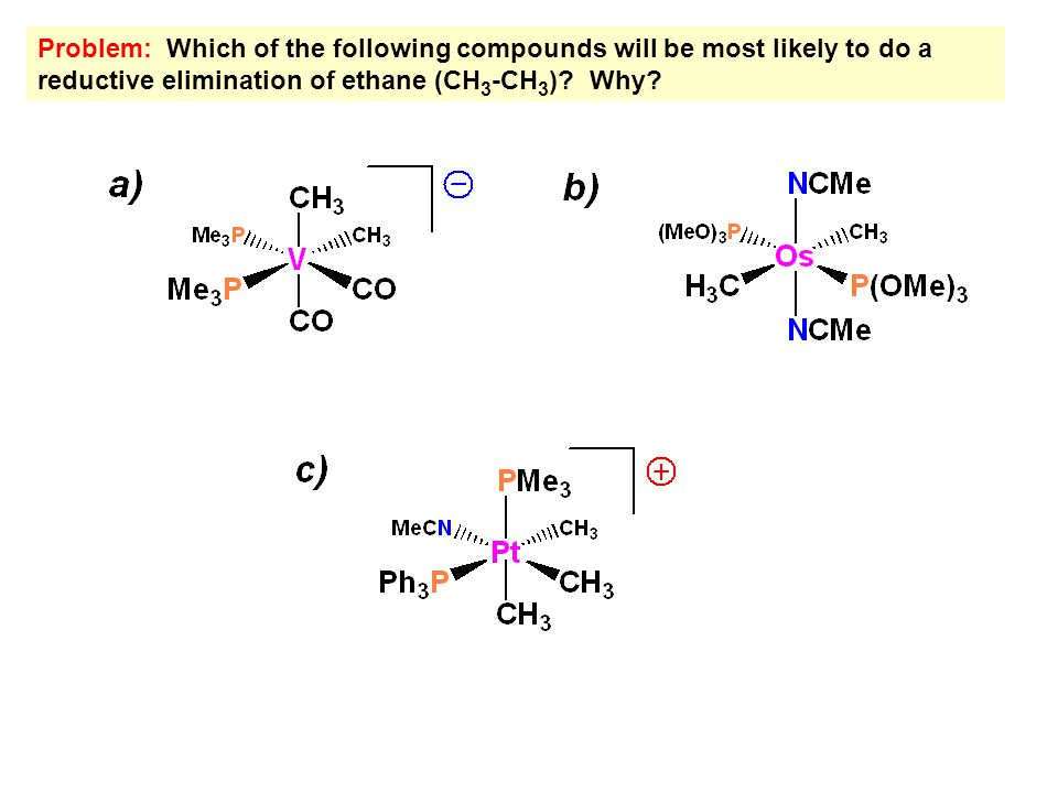 Problem: Which of the following compounds will be most likely to do a reductive elimination of ethane (CH 3 -CH 3 )? Why?