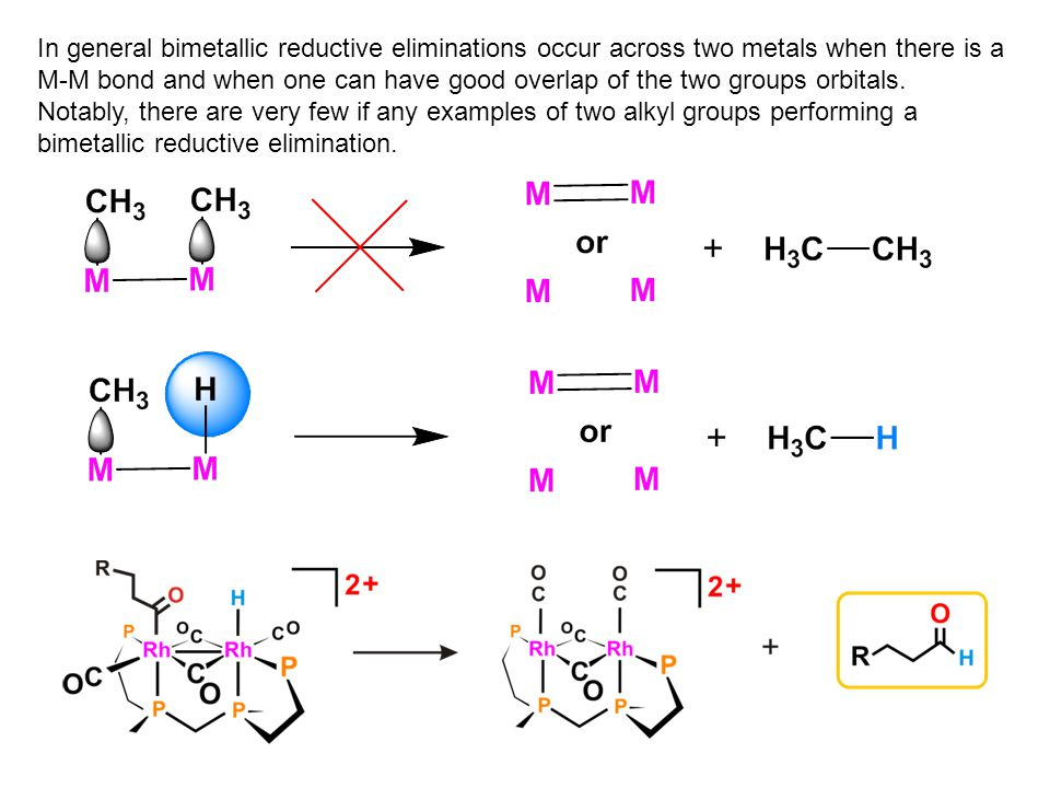 In general bimetallic reductive eliminations occur across two metals when there is a M-M bond and when one can have good overlap of the two groups orb