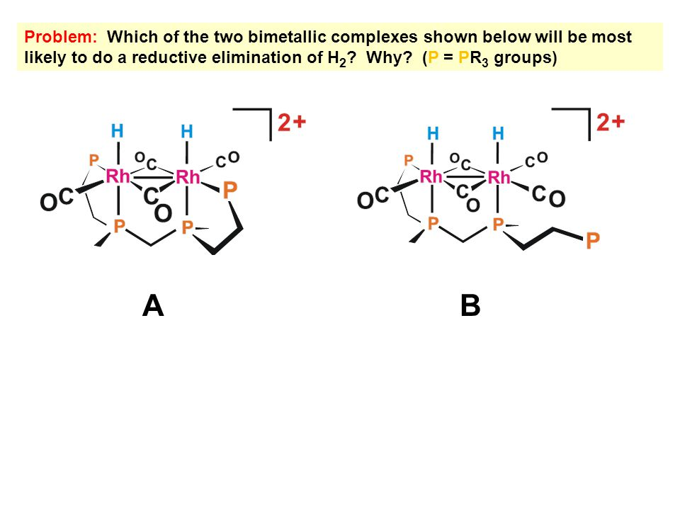 Problem: Which of the two bimetallic complexes shown below will be most likely to do a reductive elimination of H 2 ? Why? (P = PR 3 groups) AB